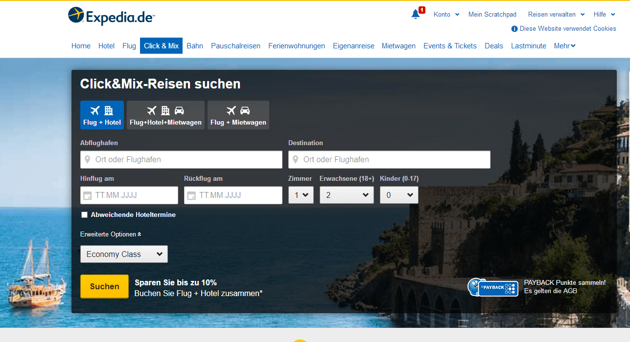 Expedia Website mit Expedia Gutschein